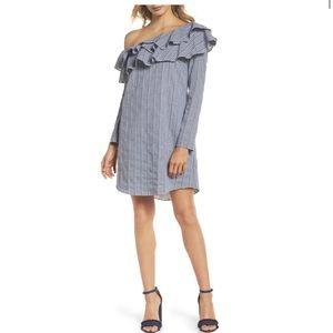Adelyn Rae Gingham one shoulder ruffle dress, NWOT